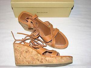 8-5-M-Enzo-Angiolini-Brown-Leather-Natural-Tan-Wedge-Platform-Heels-Gladiator-B