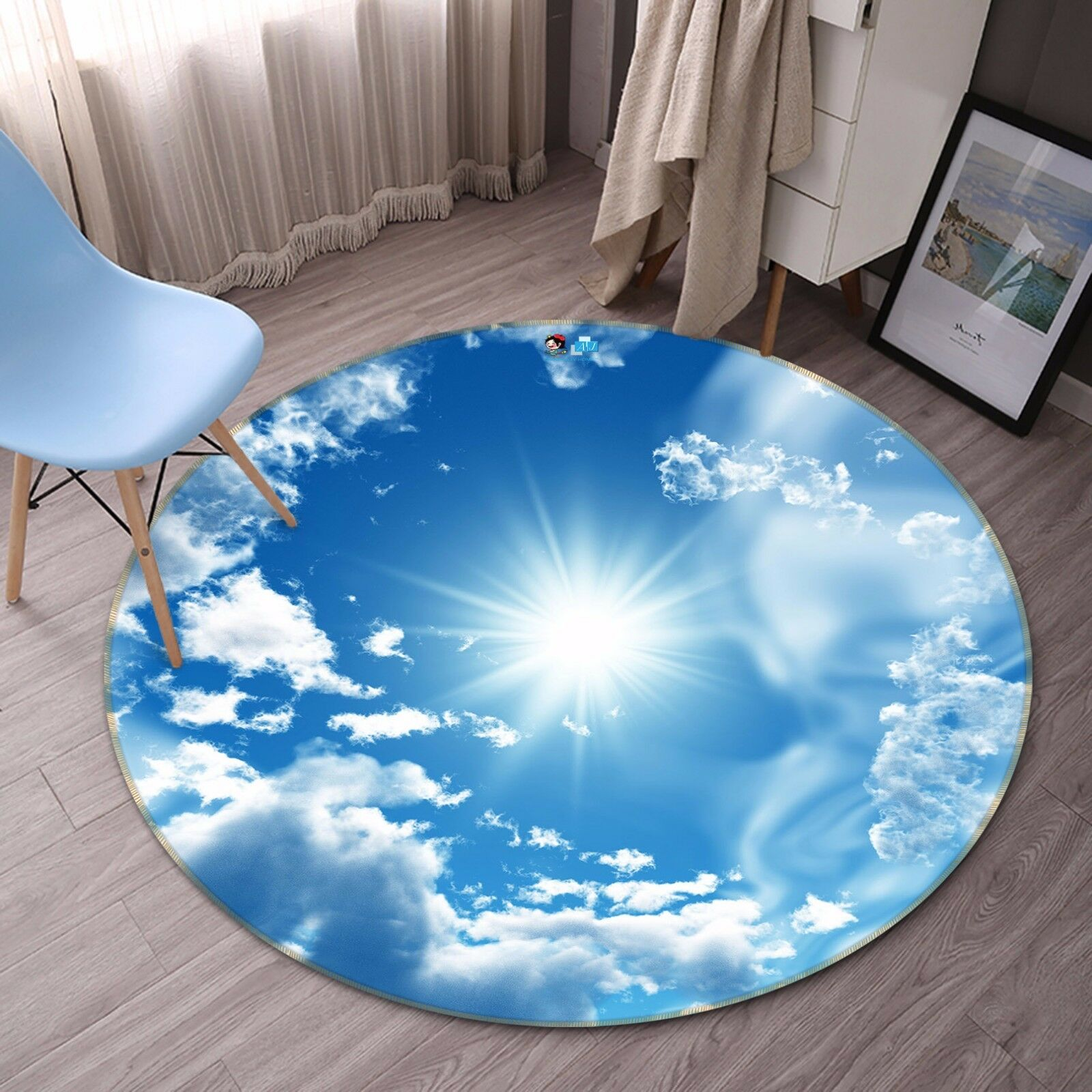 3D Sun Sky Clouds 5 Non Slip Rug Mat Room Mat Round Quality Elegant Photo Carpet