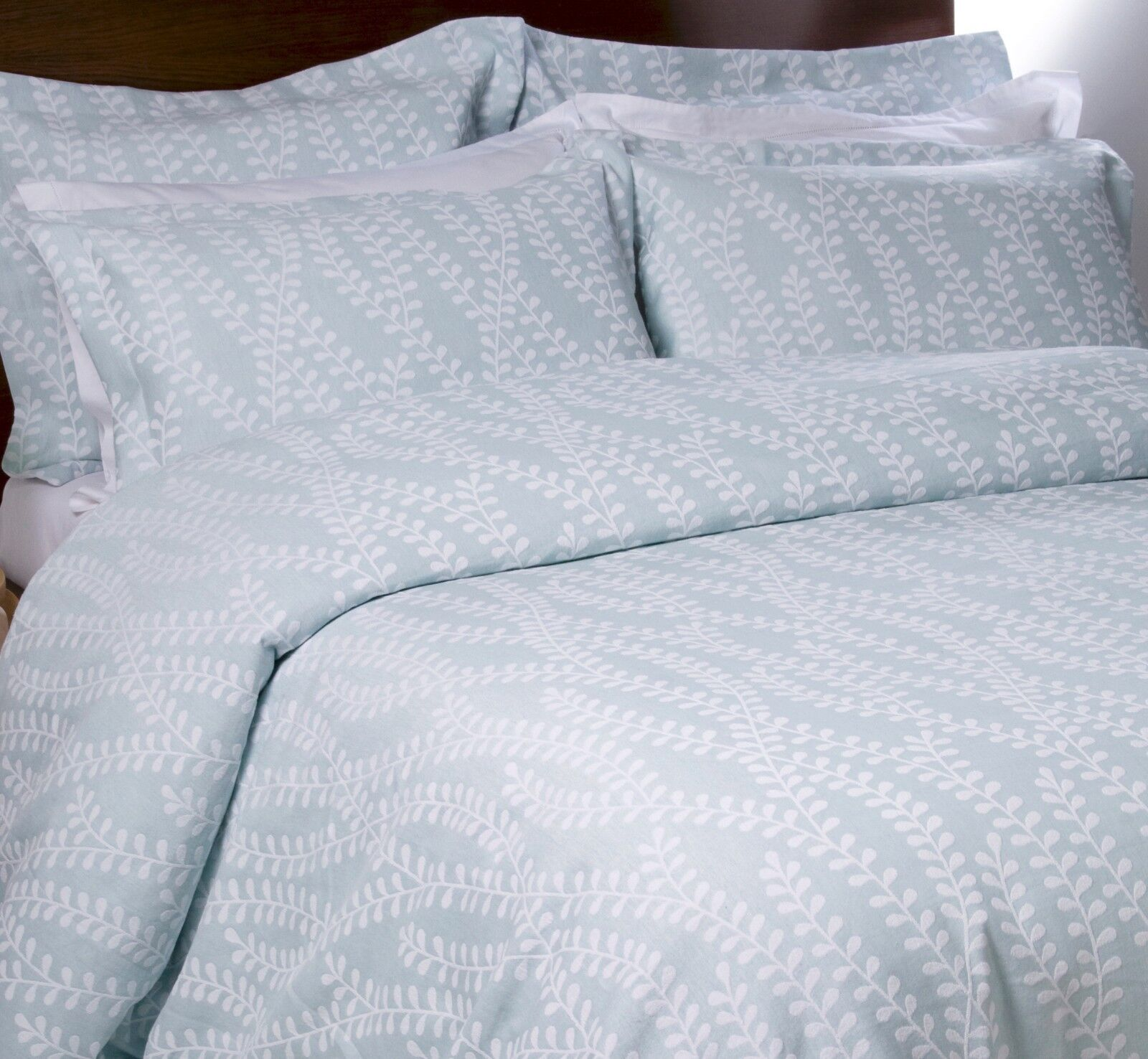 Elegant Luxury Woven Leaf Jacquard 100% Percale Cotton Bed Linen Duvet Cover Set
