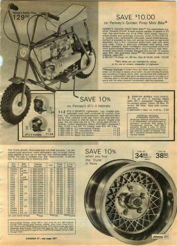 1972 ADVERT Golden Pinto Mini Bike 3.5 HP 4 Cycle Gas Gasoline Engine 23 MPG