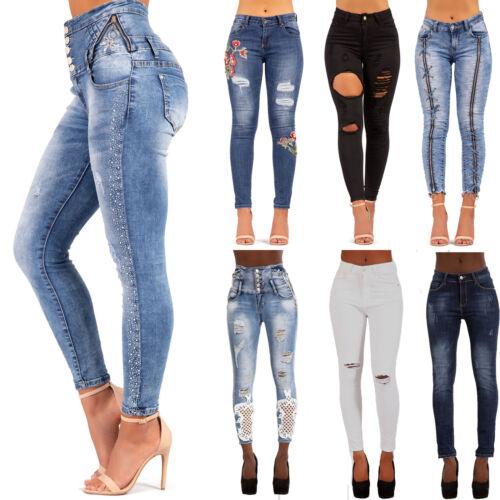 Da Donna Vita Alta Strappato Skinny Jeans Stretch Skinny High Rise Pantaloni Taglia 6-14