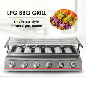6-Burners-Stainless-Steel-BBQ-Grill-LPG-Gas-Height-Adjustable-Tabletop-Camping