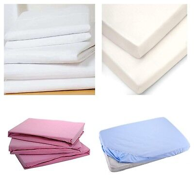 2x Cotton Jersey Fitted Sheet 100/% Cotton 120cm x 60cm White