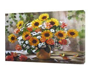 Roses/camomille Drawn Charcoal Soft Pastel Imprimé Sur Encadrée Toile-afficher Le Titre D'origine
