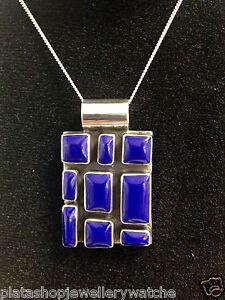 925-Royal-Blue-Silver-Pendant-Unique-Shape-Design-Women-Ladies-Gift-Present