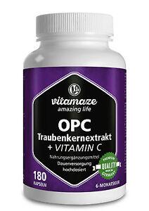 OPC Traubenkernextrakt + Vitamin C 180 Kapseln für 6 Monate Traubenkern Premium