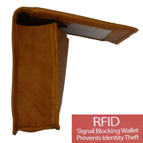 Tan RFID Security Safe Leather Expandable Credit Card ID Business Case Wallet