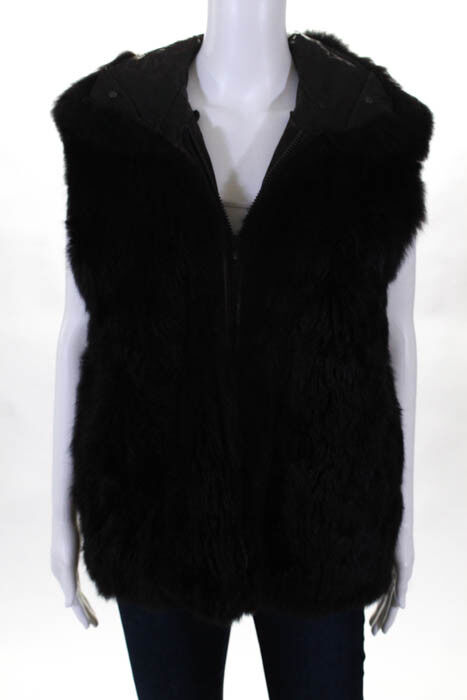 Andrew Marc Women's Genuine Plush Soft Shiny Opossum Shearling Fur Brown Vest M