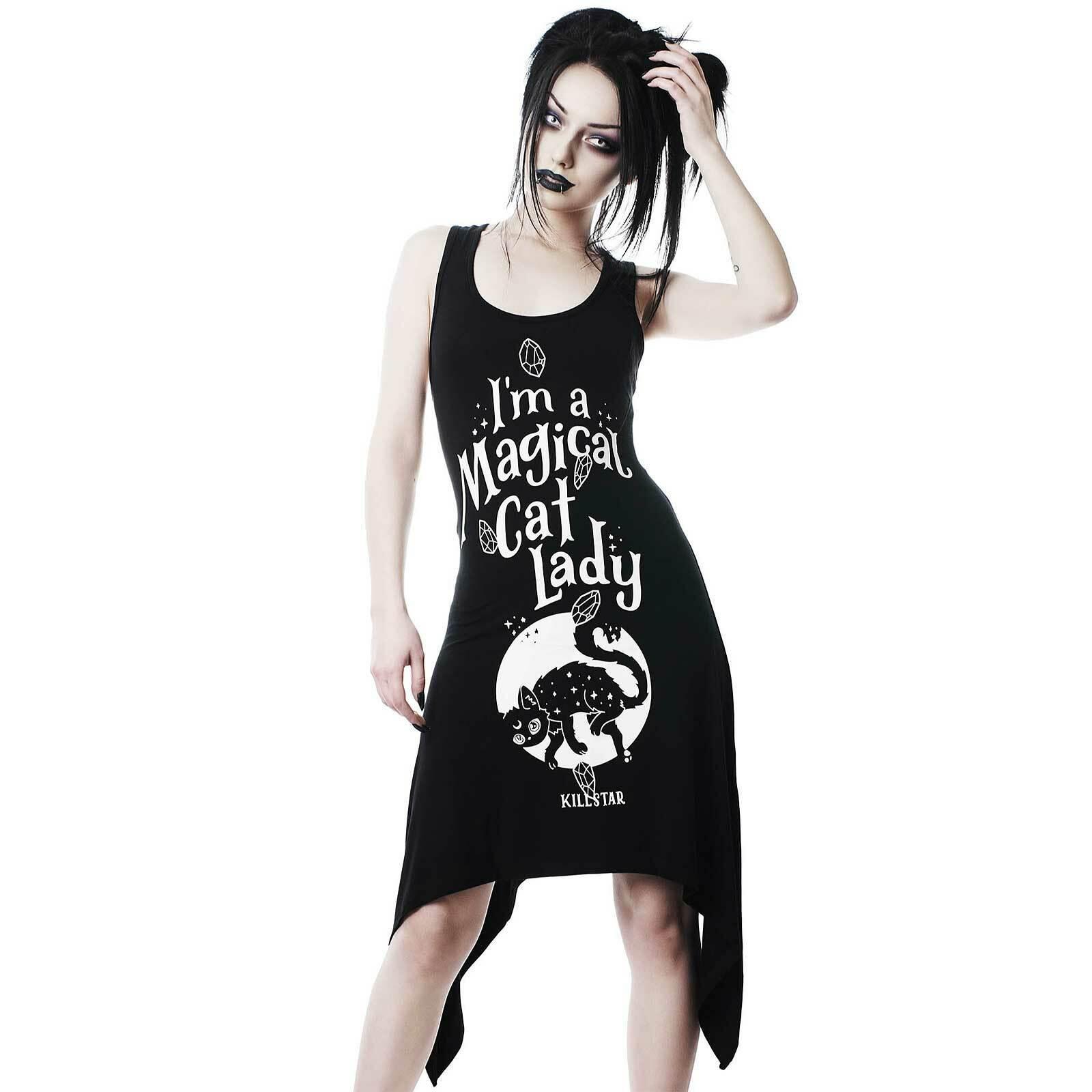 KILLSTAR Cat Lady Tunika Gothic Kleid Schwarz Katzen-Druck Schnürung Tunic Dress