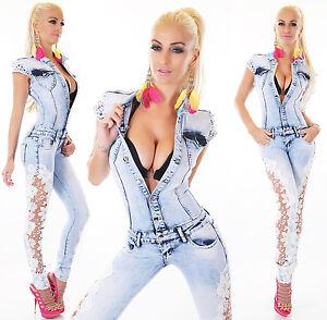 l m Xs Femmes S xl Combinaison Jean Lacets WSq7w7OXY
