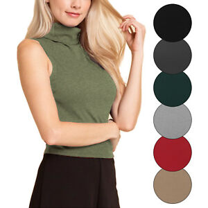 77439eaa35c021 KOGMO Women's Sleeveless Ribbed Turtleneck Crop Top Knit Made In USA ...