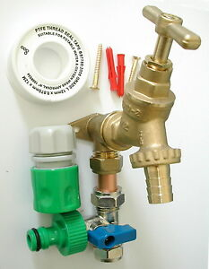 Outside Tap Kit With Permanent Hose Branch And Garden Hose
