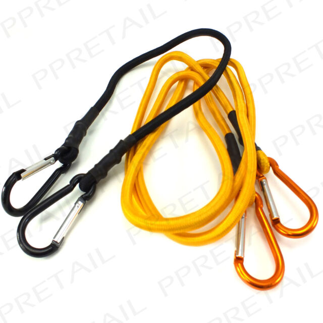 "HEAVY DUTY BUNGEE CORDS WITH 2 CARABINER CLIPS 24/36/48/72"" Karabiner Straps NEW"