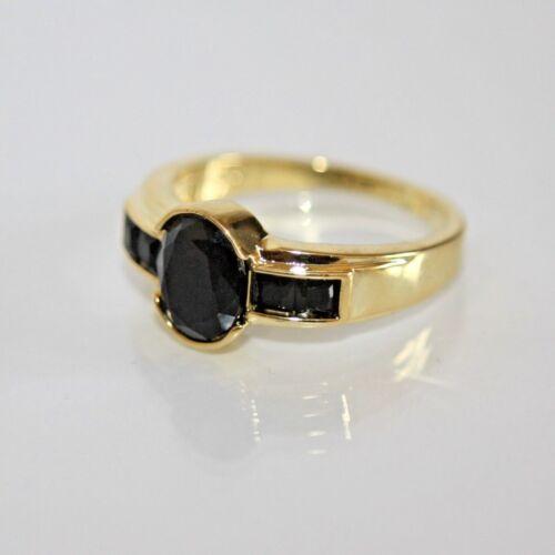 750 Saphir schwarz Gr 57 Ø 18,1 gest. Wunderschön Herren Damen Ring Gold 18K GP