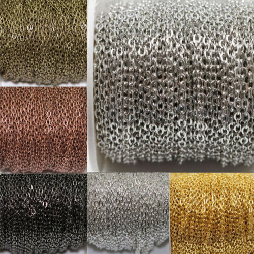 3mm 1//5//100M Premium Quality Curb Cross Chain Jewellery Making Findings