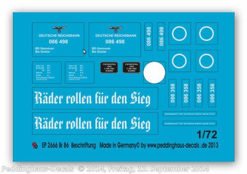 1//72 ep 2666 Reichsbahn Br 86 Beschriftung