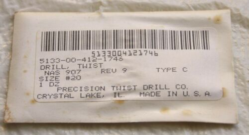 Aircraft Drill bits made in US 12 each precision twist #20 /& cobal #11