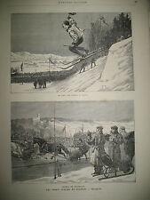 NORVEGE SKI TRAINEAU EGYPTE PRISON TORTURE VENISE PLACE SAINT-MARC GRAVURES 1884