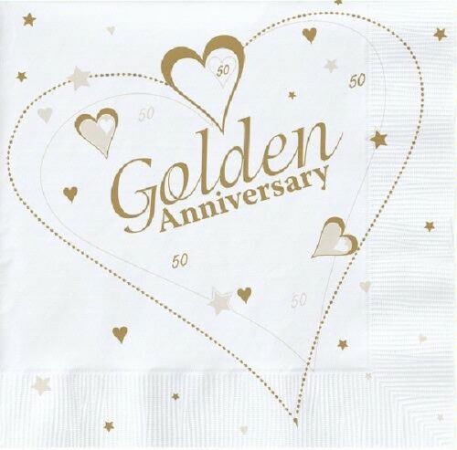 20 x GOLDEN ANNIVERSARY NAPKINS 33cm 3ply 50 YEARS 50th PARTY WEDDING TABLEWARE