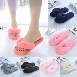 UK Womens Winter Slippers Comfort Sliders Home Outdoor Soft Fur Flip Flop Shoes