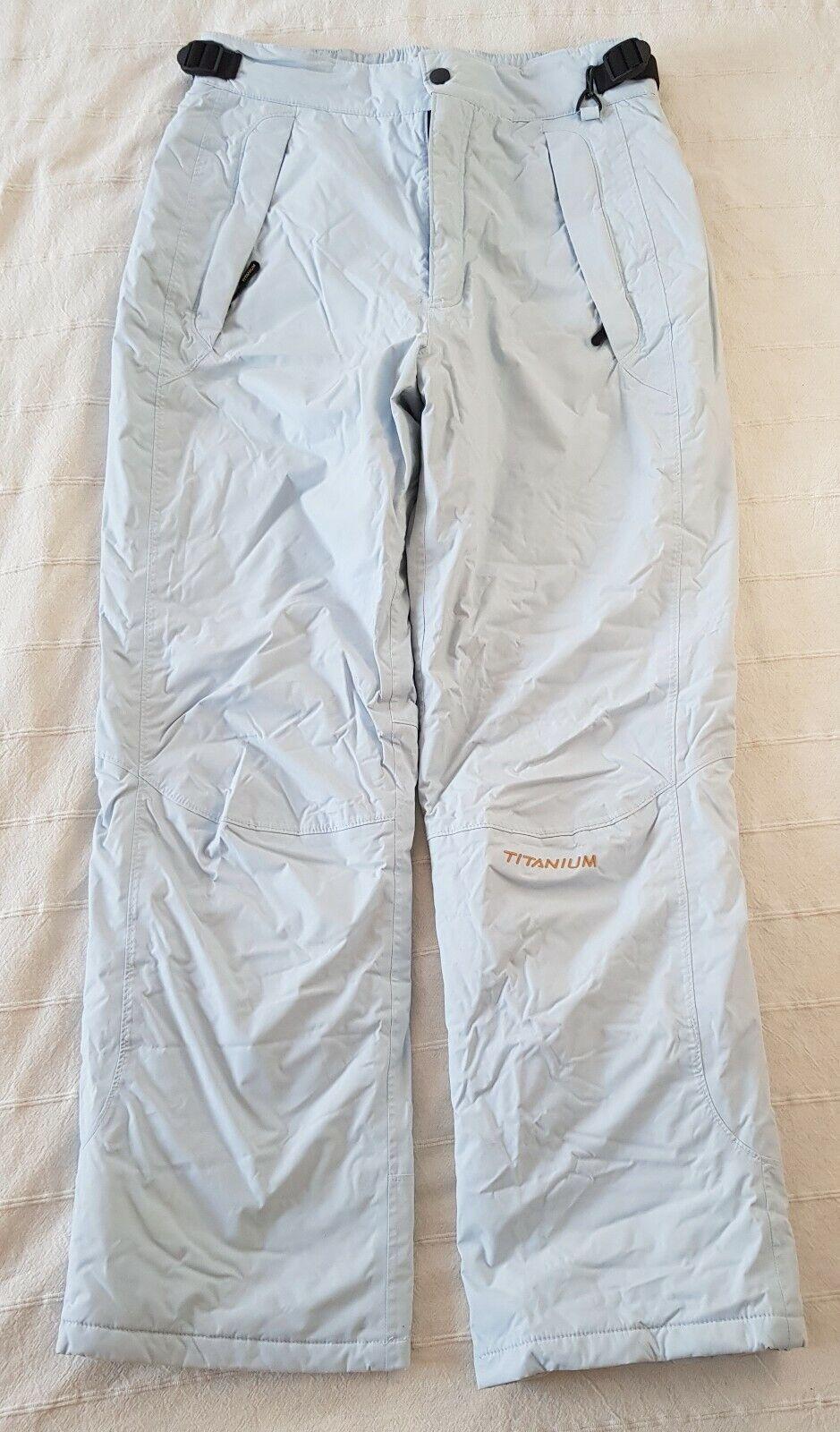Pantalón de nieve Columbia Titanium mujer azul claro, talla L, perfecto estado