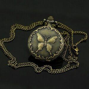 Dekorative-Bronze-Taschenuhr-mit-Schmetterling-Motiv-und-Kette