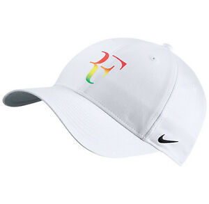 f7d7aa7a578 New Nike RF Roger Federer Iridescent Hat Cap White Tennis Dri Fit ...