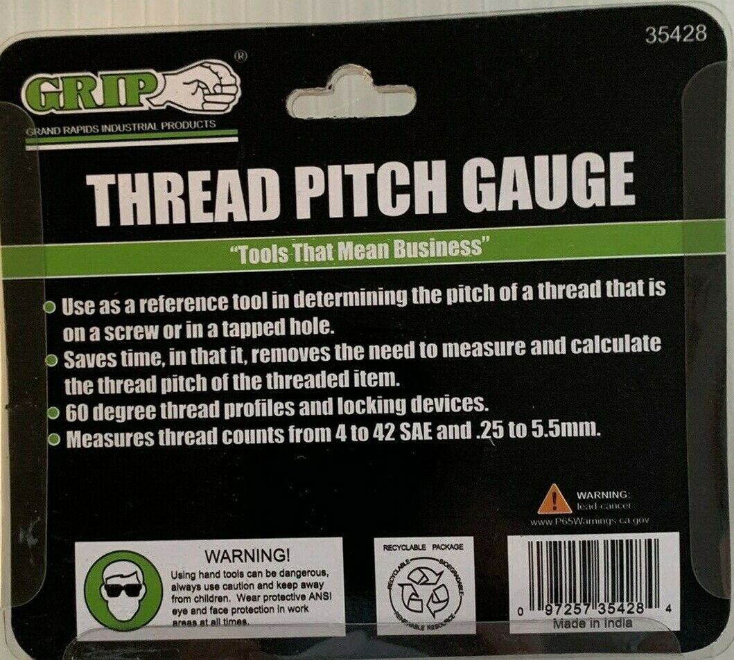 SAE 4-42 /& METRIC .25-5.5mm FREE SHIP NEW IN PACKAGE THREAD PITCH GAUGE