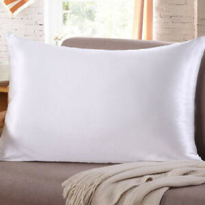 2Pcs Cushion Covers Silk Throw Pillow Case Queen Size Pillowcase Home Decor UK