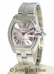 Cartier-Roadster-2675-Steel-Pink-Dial-Quartz-Ladies-Watch-Box-amp-Papers-W62016V3