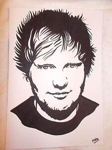 A4 Black Ink Marker Pen Sketch Drawing Musician Singer Ed Sheeran   EBay