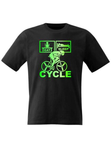 Fluorescent Print Size Age 3 to 15 Kids Eat Sleep Cycle T Shirt Bike Bicycle