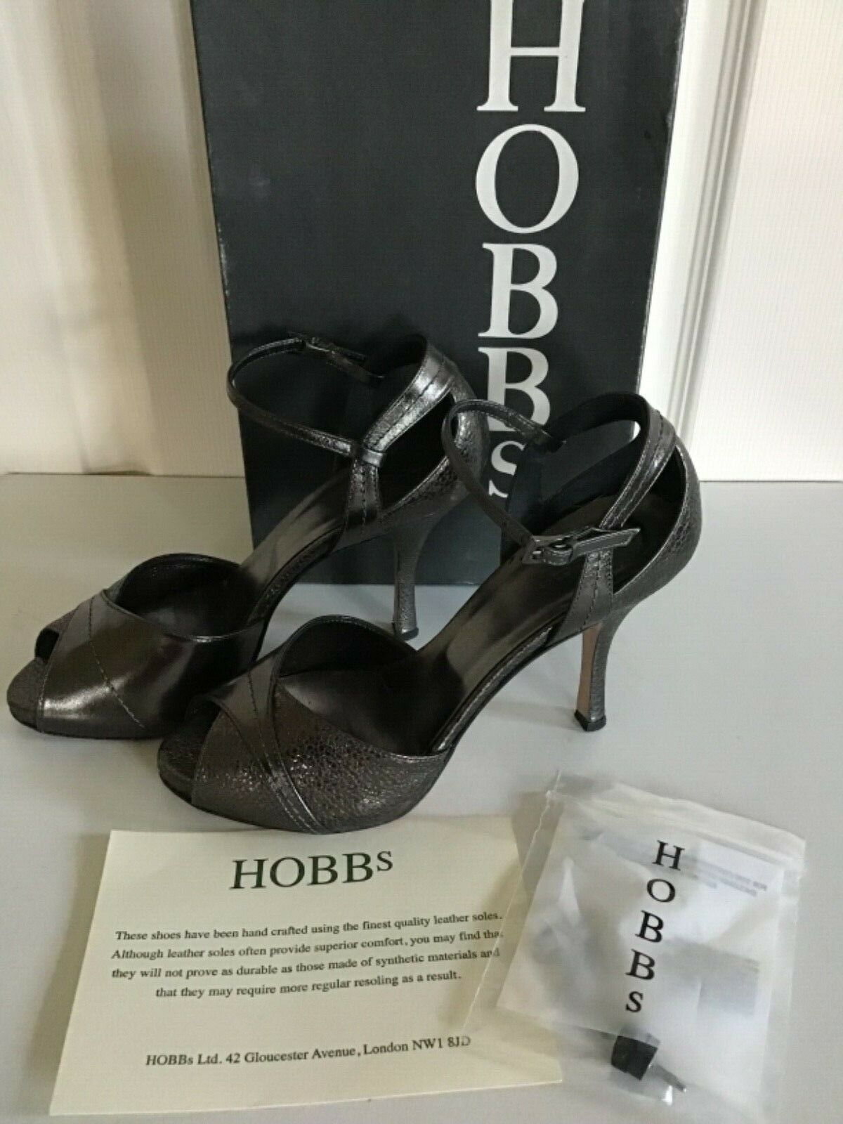 HOBBS pewter Italian WINONA  ALL LEATHER peep toe strappy shoes 36.5 UK 3.5