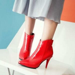Chic-Womens-Patent-Leather-Pointed-TOE-High-Heel-Shoes-Ankle-Boots-SIZE-3-5-10-5