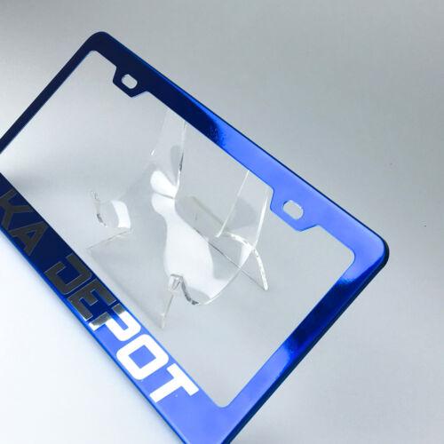 Laser Engrave Customilze Suv License Plate Fram Tag Holder Bracket Blue Chrome