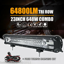 "8D TRI ROW 23INCH 648W CREE LED WORK LIGHT BAR SPOT FLOOD COMBO ATV 22"" / 24"" US"
