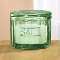 Bottle Green Glass Salt Cellar Lidded Retro Depression Style Kitchen Tabletop 2b