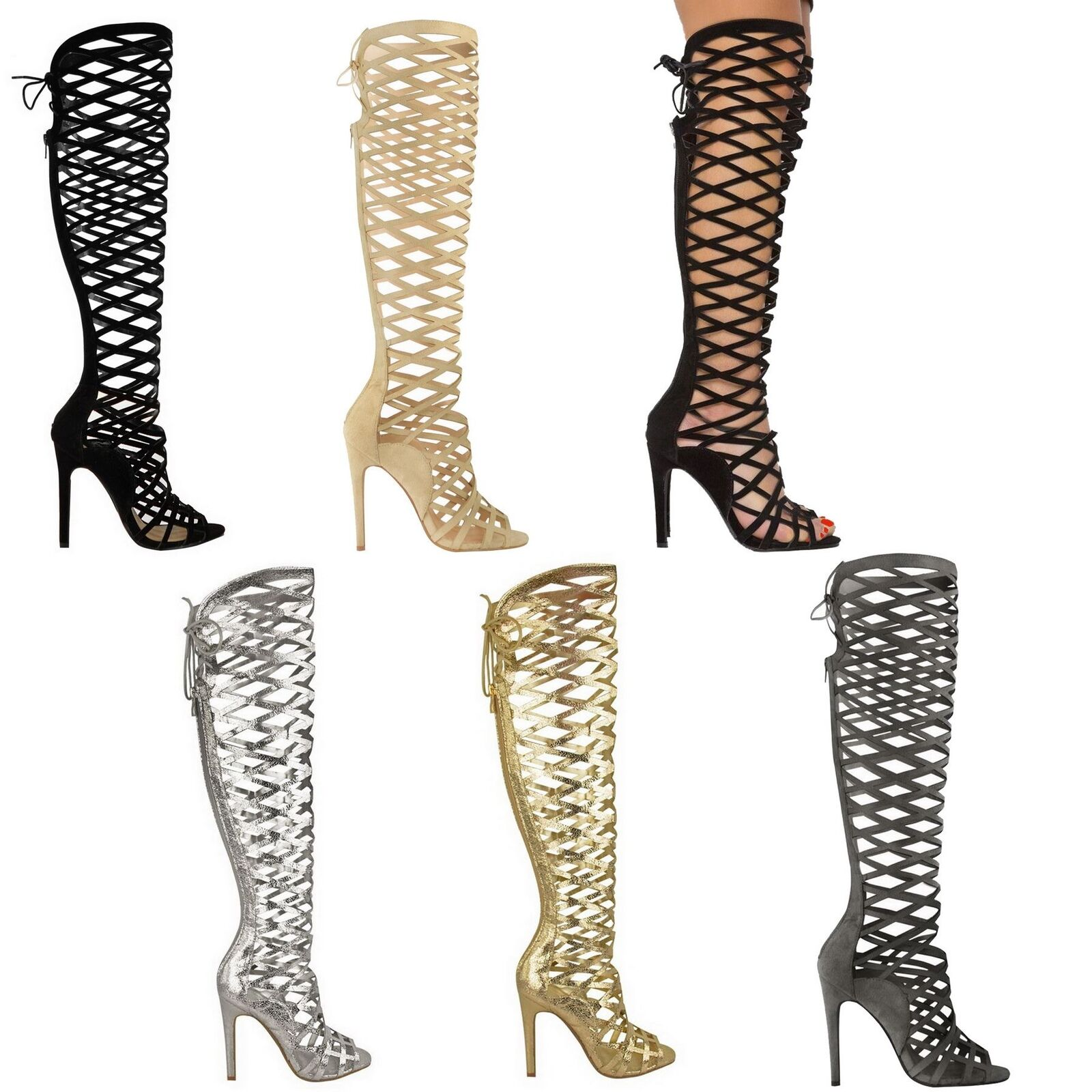 LADIES WOMENS CUT OUT STILETTO HEEL LACE SANDALS GLADIATOR KNEE BOOTS SHOES SIZE