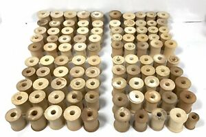 Vintage-Lot-of-100-Empty-Wood-Thread-Spools-1-1-5-Sew-Craft-Collectable
