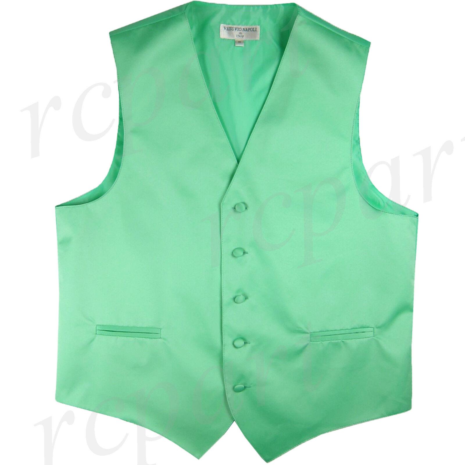 New Men's Vesuvio Napoli Tuxedo Vest Waistcoat only wedding Aqua green 5XL 6XL