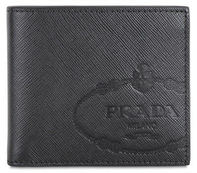 ec01b094015a PRADA Signature Saffiano Leather Billfold Wallet with Gift Box Made in Italy