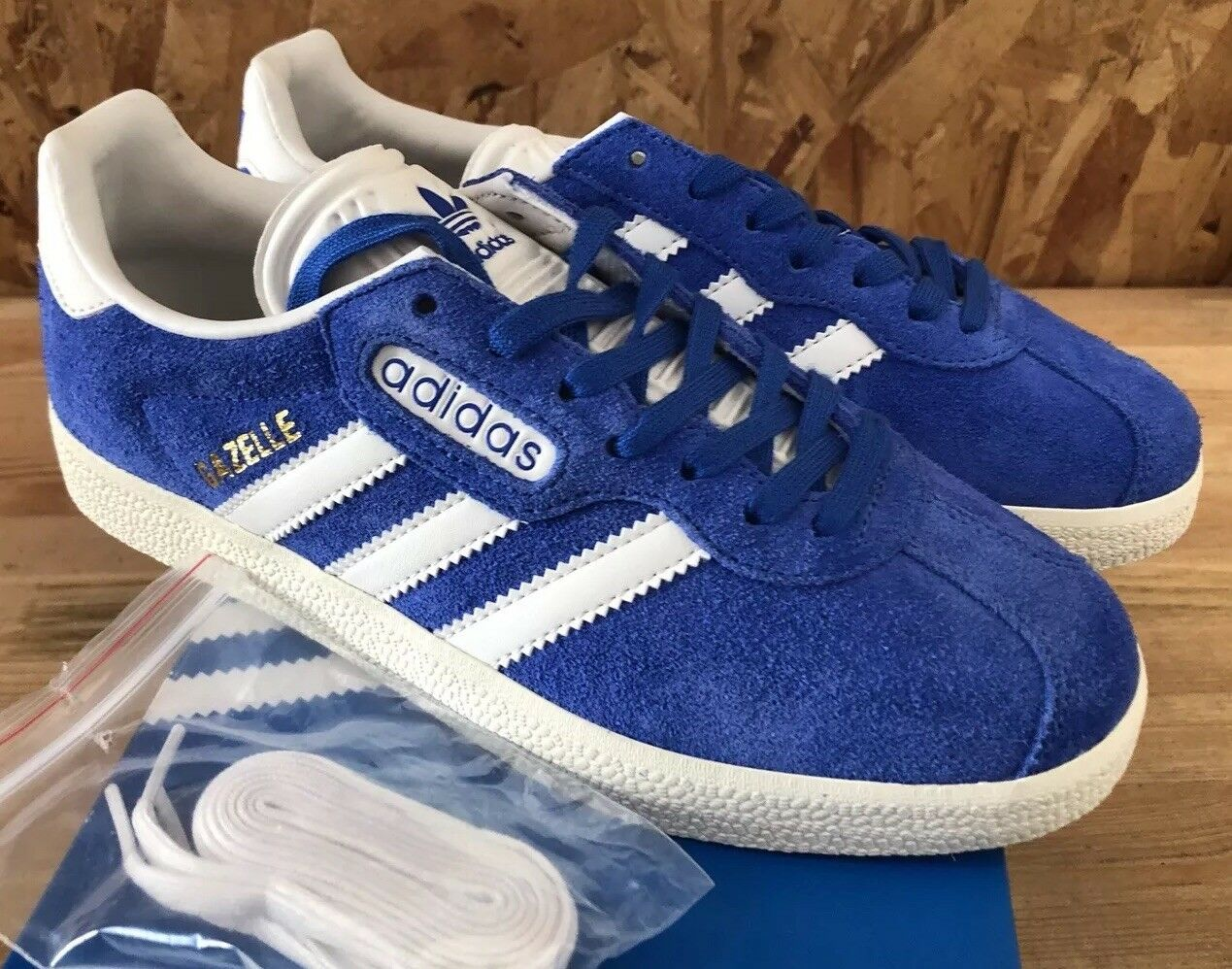 Adidas Gazelle Super Blue White Gold Sz 6.5 NIB BB5241