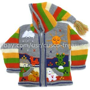 Children/'s cardigan Red Kids hooded sweater knitted jacket toddler hoodies Peruvian kids wool sweater with hand embroidered details