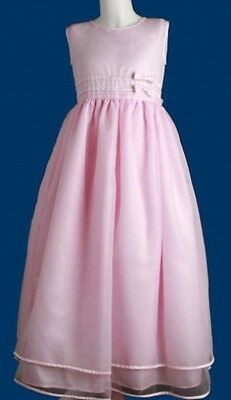 Pink Bridesmaid Flower Girl Dress Formal Satin Dresses for Girls Size 2 4 6 8 10