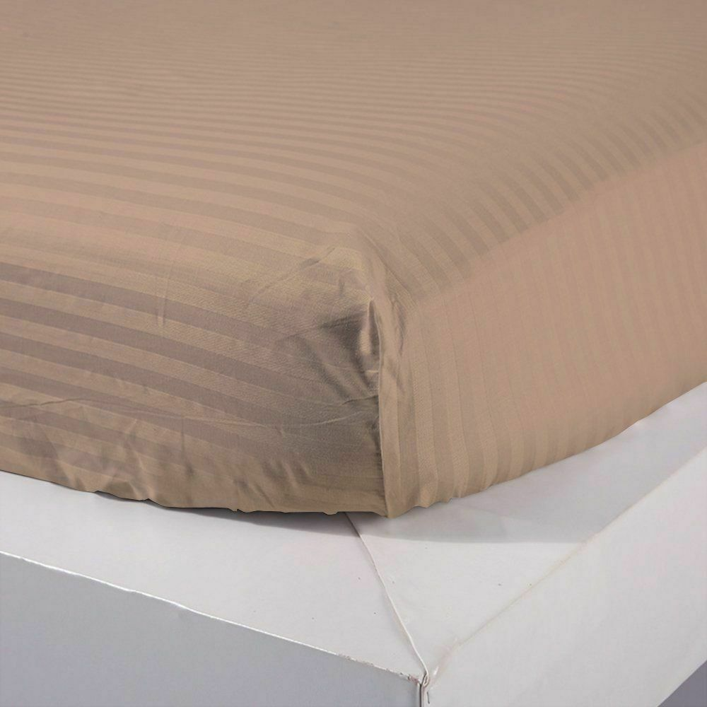 New 1 Qty Fitted Sheet Extra Depth Egyptian Cotton 1000 TC Taupe Stripe