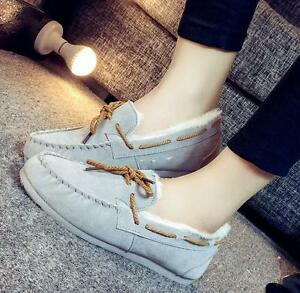 Fashion-Women-Fur-Lined-Winter-Flat-Moccasins-Warm-Pull-On-Pregnant-Boots-Shoes