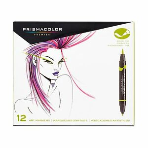 Prismacolor Premier 12 Double Ended Art Markers Brush & Fine Point 1773297 NEW