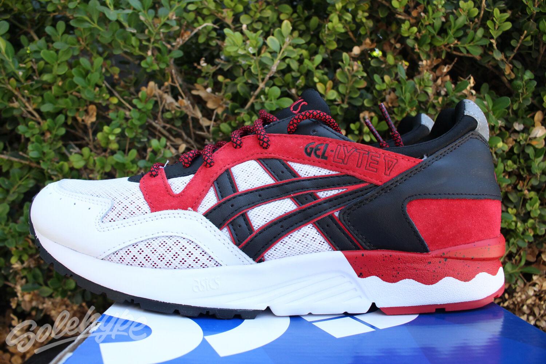 ASICS GEL LYTE V 5 SZ 9.5 RED BLACK WHITE H6S4L 2590