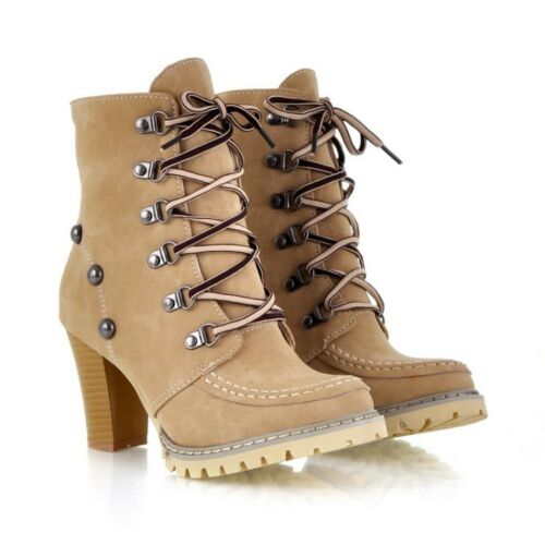 Womens Military Combat Boots Lace Up Ladies Ankle Boots High Block Heels Shoes