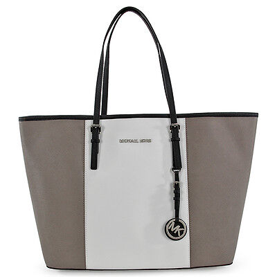 Michael Kors Jet Set Travel Center Stripe Medium Tote - Pearl Grey and White
